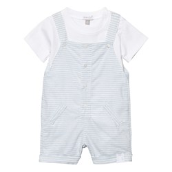 Absorba Pale Blue Stripe Dungaree and White Tee Set