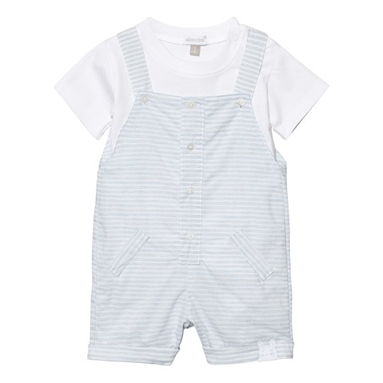Absorba Pale Blue Stripe Dungaree and White Tee Set 41