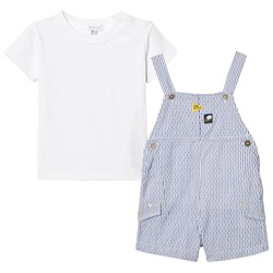 Absorba White and Navy Stripe Dungaree and Tee Set
