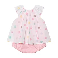 Absorba White Multi Polka Dot 2 in 1 Dress 32