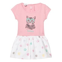 Absorba Pink Jersey Cat Print Dress with Spot Skirt 32