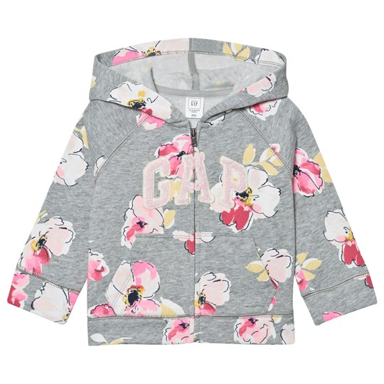 GAP Logo Floral Zip Hoodie Light Grey Flora LIGHT GREY FLORAL