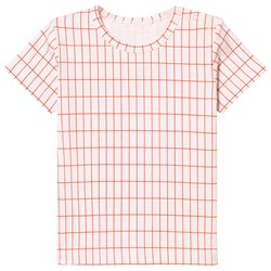 Tinycottons Grid Tee Pale Pink/Red