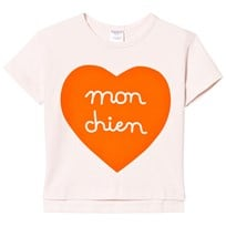 Tinycottons Mon Chien Heart Oversized T-shirt Puder Rosa/Röd Pink