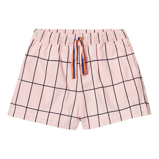 Tinycottons Big Grid Shorts Pale Pink/Dark Navy Pink