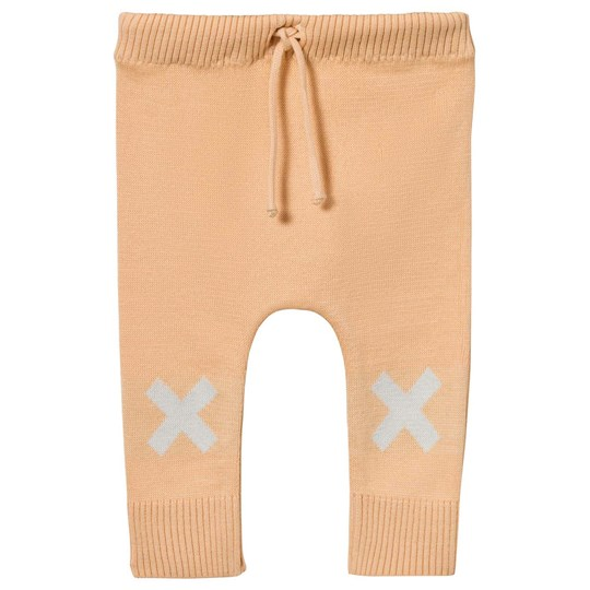 Tinycottons Knit Logo Pant Nude/Light Blue Beige