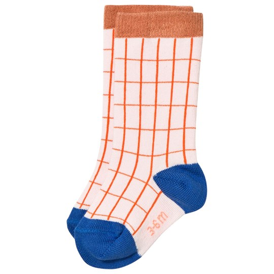 Tinycottons Grid High Socks Pale Pink/Red Pink