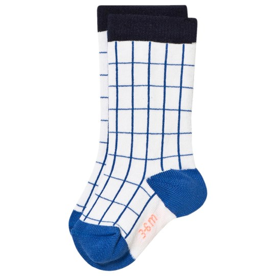 Tinycottons Grid High Socks Off White/Blue White