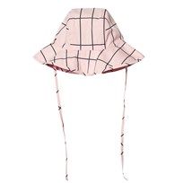 Tinycottons Grid Sun Hat Pale Pink/Dark Navy Pink