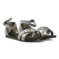 Toms Black Slubby & Lurex Youth Correa Sandals BLACK SLUBBY LUREX