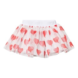 Caroline Bosmans Planet Smile Printed Mesh Skirt Heart White