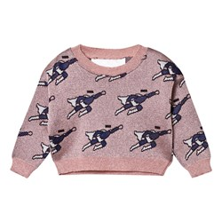 Caroline Bosmans Mode Hero Jacquard Knitted Cropped Sweater Superman Pink.