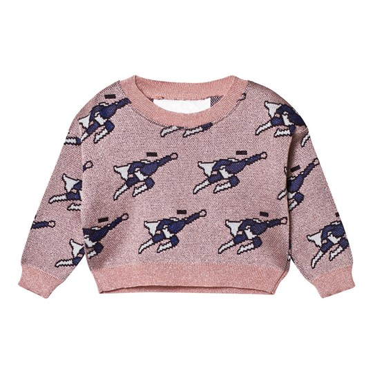 Caroline Bosmans Mode Hero Jacquard Knitted Cropped Sweater Superman Pink. Superman Pink
