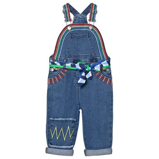 Stella McCartney Kids Blue Denim Rainbow Dungarees with Embroidered Sun 4161