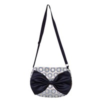 Hucklebones Blue and Gold Daisy Jacquard with Navy Bow Bag GOLD / INDIGO