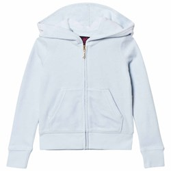Juicy Couture Ice Blue Jewelled Glitter Velour Hoody