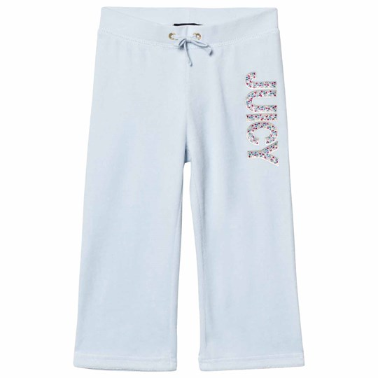 Juicy Couture Ice Blue Jewelled Glitter Velour Track Pants CRYSTAL CLEAR