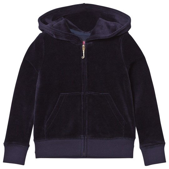 Juicy Couture Navy Floral Jewelled Crest Velour Hoody Regal