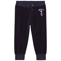 Juicy Couture Navy Floral Jewelled Crest Velour Track Pants Regal