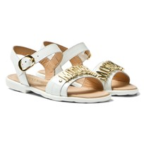 Moschino Kid-Teen White Vernice Branded Sandals VERNICE BLANCA