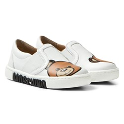 Moschino Kid-Teen White Canvas Vitello Branded Pumps