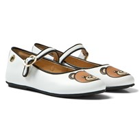Moschino Kid-Teen White Vitello Branded Mary Janes VITELLO BIANCO