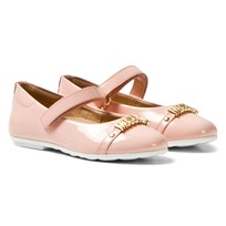 Moschino Kid-Teen Pink Vernice Branded Mary Janes VERNICE ROSA
