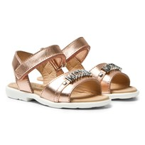 Moschino Kid-Teen Rose Gold Laminato Branded Sandals LAMINATO ROSA