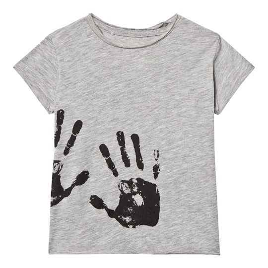 NUNUNU Hand Print Raw T-shirt Heather Grey Grey