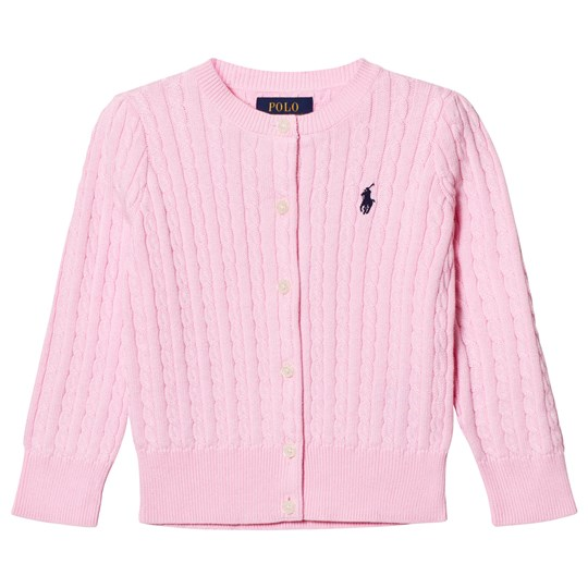 Ralph Lauren Cable-Knit Cotton Cardigan Pink/Navy 006