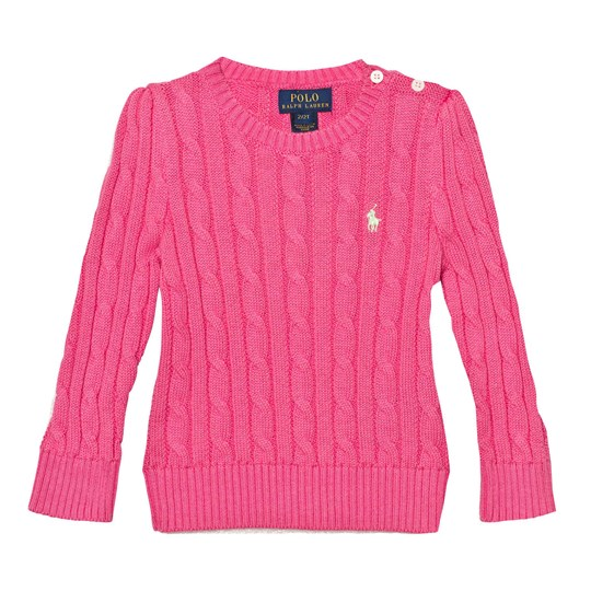 Ralph Lauren Pink Cotton Cable Knit Sweater 001