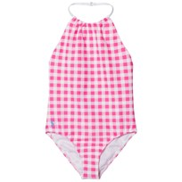 Ralph Lauren Gingham One-Piece Swimsuit Baja Pink/White 001