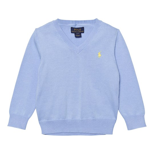 Ralph Lauren Pale Blue V Neck Cotton Jumper 003