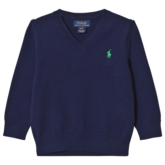 Ralph Lauren Navy V Neck Cotton Jumper 001