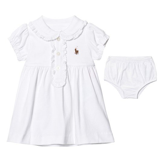 Ralph Lauren White Frill Front and Peter Pan Collar Jersey Dress and Knickers 002