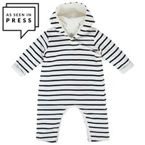 Petit Bateau Stripe Padded Romper with Pointed Hood Navy