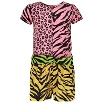 Moschino Kid-Teen Animal Patch Work Print Playsuit Multi Colour