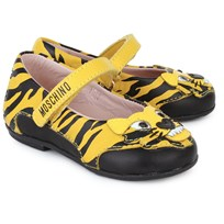 Moschino Kid-Teen Zebra Print and Lion Face Patent Mary Jane Yellow