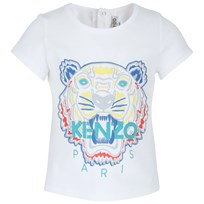 Kenzo White Tiger Embroidered Tee White