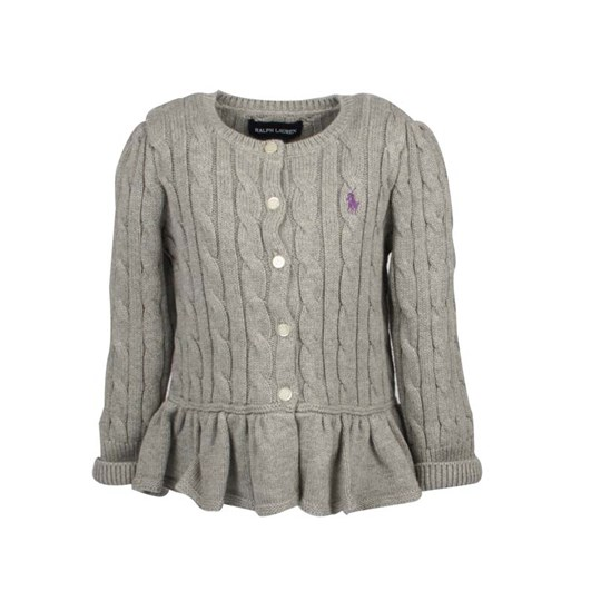 Ralph Lauren Cardigan Peplum Grey Black