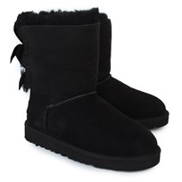 UGG Bailey Bow Suede Boots with Double Ribbon Black