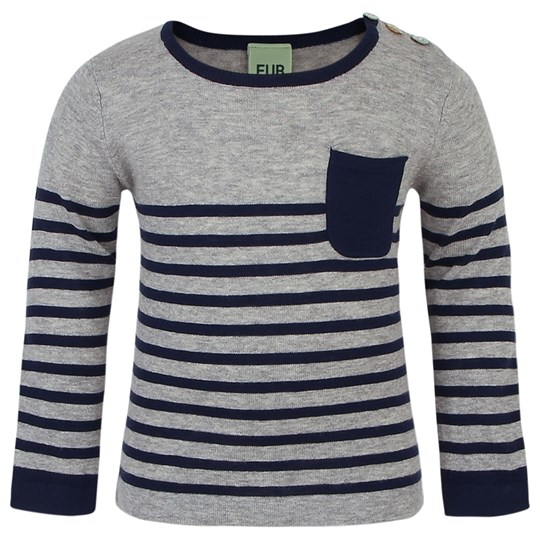 FUB Navy Pocket Detail Stripe Jumper Black