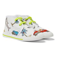 Stella McCartney Kids High Top Canvas Trainers with 50s Print Cream