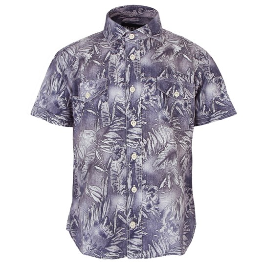 Hackett Chambray Shirt with All Over Washed Hawaain Print Blue