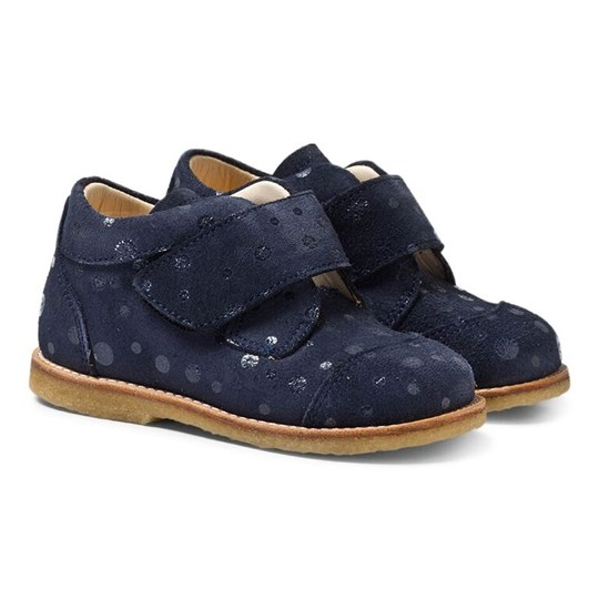 Angulus Navy Suede Velcro Boots Marinblå