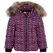 Pink Monster Print Quilted Coat with Fur Trim