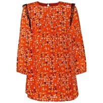 Fendi Orange All Over Logo Print Dress F0BXA