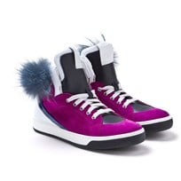 Fuschia Suede High Tops with Patent Panels, Fur Eye and Side Zip