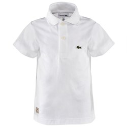 Lacoste White Jersey Branded Polo