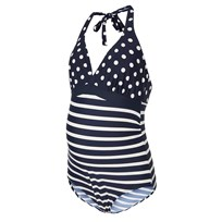 Mamalicious Dot and Stripe Maternity Swimsuit Snow White Snow White